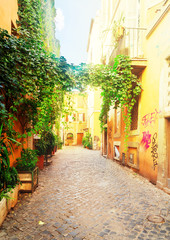 view of old town italian narrow street with blue sky in Trastevere, Rome, Italy, retro toned