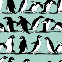 Hand drawn penguins pattern