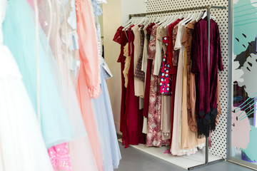 women's dressing room with dresses