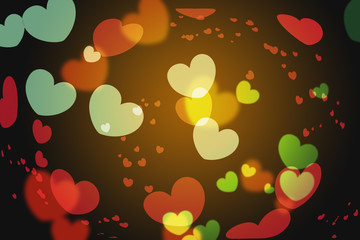 Abstract background of colorful hearts on black backdrop. Bokeh of defocused glitters, blurred pink and lilac symbols of love. Festive wallpaper of holidays and celebrations, St. Valentine's day