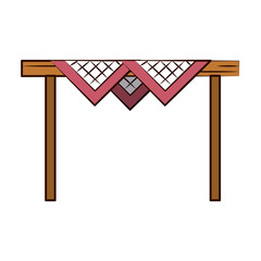 wooden table with checkered tablecloth sideview  image vector illustration design