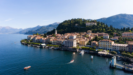 Port of Bellagio, lake of Como in Italy. Aerial view