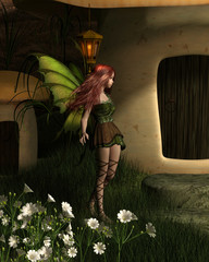 Fairy Toadstool House Nighttime Visitor - fantasy illustration