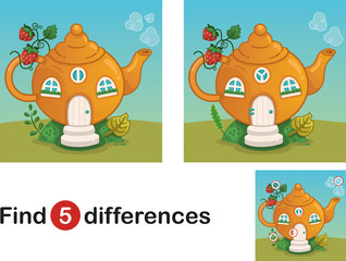 Find 5 differences education game for children, fairy tale house. Vector illustration.
