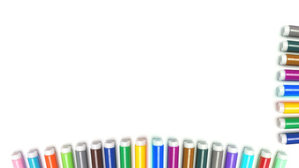 Multicolored Felt Tip Pens on White Background.