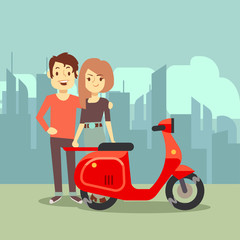 Cute cartoon young lovers and bike on city landscape - modern date concept