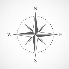 Gray compass icon. Vector illustration.