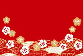 年賀 赤シンプル 和