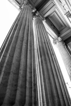 Black and white photo of architectural detail of columns wide angle