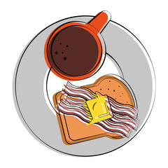 coffee and bacon strips breakfast related image vector illustration design