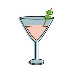 martini cocktail glass icon image vector illustration design