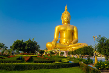 The famous biggest golden buddha statue at Wat muang, Angthong province, Thailand.