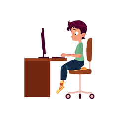 vector flat cartoon teen boy kid sitting on office chair at wooden desk looking in pc monitor typing somthing at keyboard. Isolated illustration on a white background.