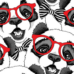 Seamless pattern with image of a Panda child in a red glasses with a tie. Vector illustration.