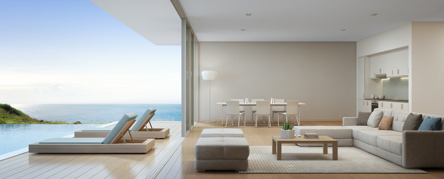 Sea view kitchen, dining and living room of luxury beach house with terrace near swimming pool in modern design. Vacation home or holiday villa for big family. Interior 3d rendering