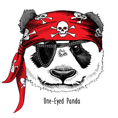 Panda portrait in a red pirate's bandana. Vector illustration.