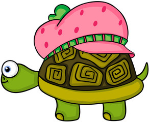 Cute turtle with strawberry hat