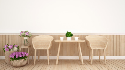dining area in coffee shop or restaurant decoration flower.Interior Design - 3D Rendering
