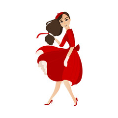 vector flat cartoon beautiful young woman in red felt beret, long dress smiling. French, parisian style female portrait full length. Isolated illustration ona white background.