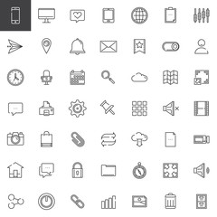 Web tools line icons set, outline vector symbol collection, linear style pictogram pack. Signs, logo illustration. Set includes icons as email, location, browser, search, setting, cloud, speech bubble