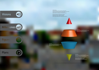 3D illustration infographic template with two spike cone horizontally divided to four color slices