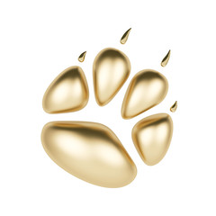 Golden paw print logotype or icon isolated on white background. Dog paw footprint logo 3d rendering. Year of Dog