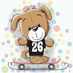 Cute Cartoon Puppy with skateboard