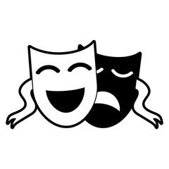 theater masks icon image vector illustration design  black and white