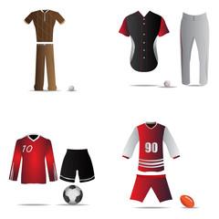 Set of sport uniforms on a white background, Vector illustration