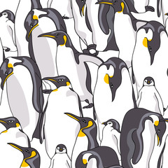 Seamless pattern with image of Emperor penguin on a white background. Vector illustration.
