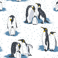 Seamless pattern with image of a penguins on a white background. Vector illustration.