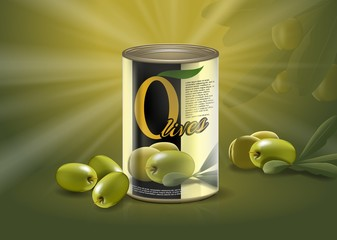 Olive can, realistic metal container with delicacy