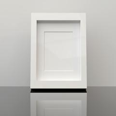Blank picture frame in living room. 3D render