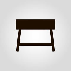 Console table vector icon with drawers. Furniture types. Hallway furniture and storage concept. Interior design. Flat lay.