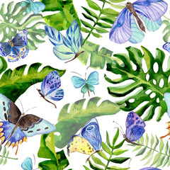 Exotic butterfly wild insect and tropical leaf pattern in a watercolor style. Full name of the insect: blue butterfly. Aquarelle wild insect for background, texture, wrapper pattern or tattoo.