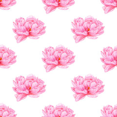 Watercolor pink peony. Seamless pattern. Botanical art. Template for a business card, banner, poster, notebook, cosmetics, perfume, greeting card or wedding invitation