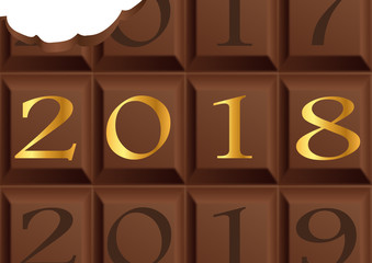 2018 - chocolat - carte de vœux - année - chocolatier - chocolaterie - carré de chocolat