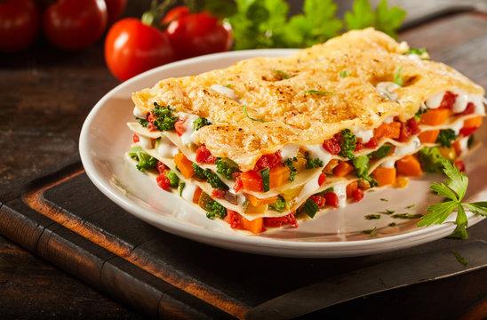 Tasty portion of Italian vegetable lasagna