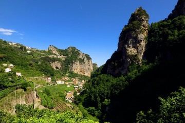 Terraced fields and mountains in Valle delle Ferriere, Amalfi Coast, Italy