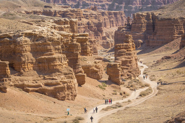 Charyn canyon in Almaty region of Kazakhstan.Beautiful mountain landscape.