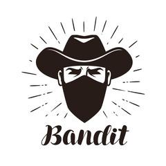 Angry bandit, gangster logo or label. Portrait of cowboy in mask. Lettering vector illustration