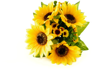 Closeup of a Sunflower Bouquet on White Background