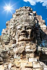 Wat Bayon temple face in Angkor, Cambodia