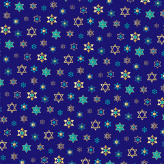 small jewish stars background pattern on blue