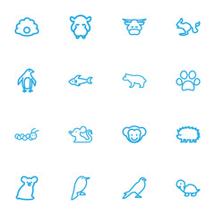 Set Of 16 Editable Zoo Outline Icons. Includes Symbols Such As Dog Steps, Hippo, Diver And More. Can Be Used For Web, Mobile, UI And Infographic Design.