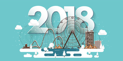 Vector illustration. 2018 winter urban landscape. City with snow. Christmas and new year. Cityscape. Buildings.Ferris wheel,park.