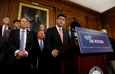 Republicans talk about their tax plan in the U.S. Capitol in Washington
