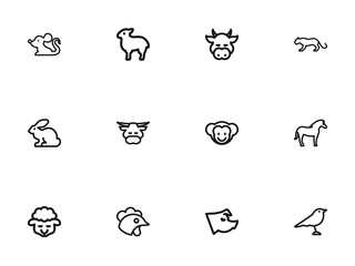Set Of 12 Editable Animal Outline Icons. Includes Symbols Such As Ox, Ape, Calf And More. Can Be Used For Web, Mobile, UI And Infographic Design.
