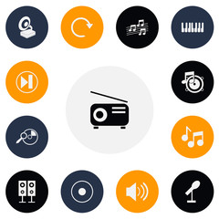 Set Of 13 Editable Mp3 Icons. Includes Symbols Such As Melody Seeking, Journalism Equipment, Forward And More. Can Be Used For Web, Mobile, UI And Infographic Design.