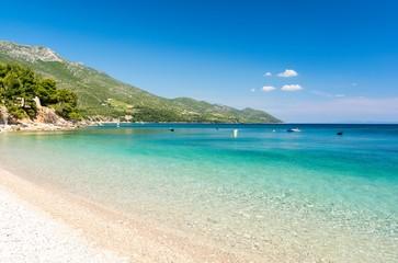 paradise beach in Orebic on Peljesac Peninsula, Dalmatia, Croatia